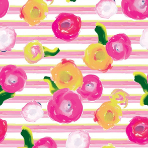 Painted Floral with Pink Painted Stripe_Miss Chiff Designs