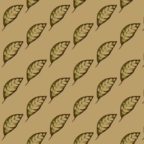Drifting Autumn Leaves on Taupe - Small Scale