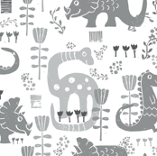 Floral Dinosaurs in Gray