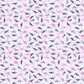 Ditsy pink dinosaur floral