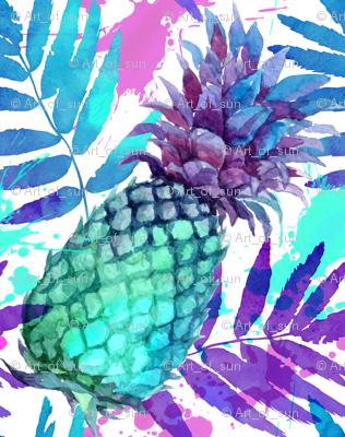 Vivid colors watercolor pineapples