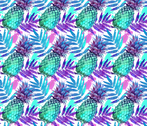 Vivid colors watercolor pineapples fabric by art_of_sun on Spoonflower - custom fabric