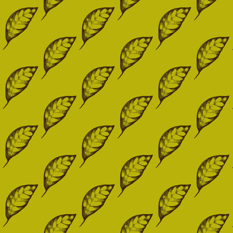 Drifting Autumn Leaves on Green Tea fabric by rhondadesigns on Spoonflower - custom fabric