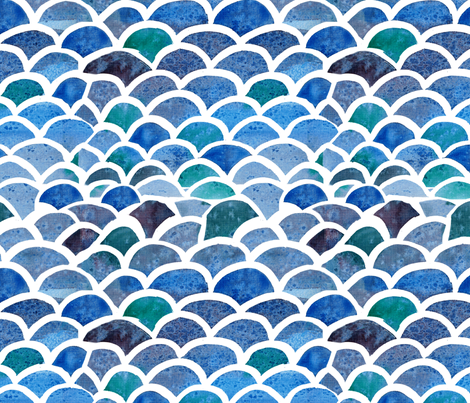 Watercolor Fish Scales  fabric by pixabo on Spoonflower - custom fabric