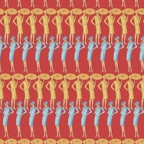 Art Deco Women on Red Background