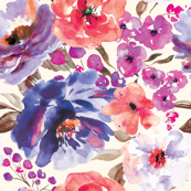 Fall Floral Painted Watercolor Flowers in Blue Purple