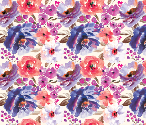 Fall Floral Painted Watercolor Flowers in Blue Purple fabric by sugarfresh on Spoonflower - custom fabric