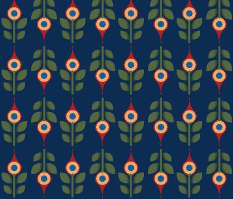 Red Folk Flowers fabric by juliematthews on Spoonflower - custom fabric