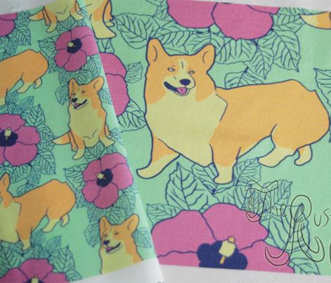 Hawaiian Corgi dogs and hibiscus flowers