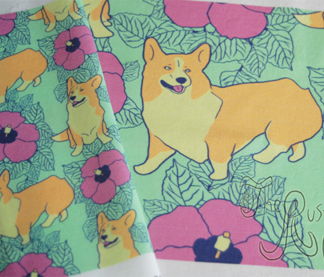 Hawaiian Corgi dogs and hibiscus flowers - small
