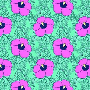 Hawaiian limited color palette hibiscus flowers