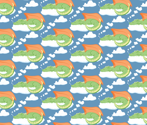 Dragon Sleeping in the Clouds fabric by juliematthews on Spoonflower - custom fabric