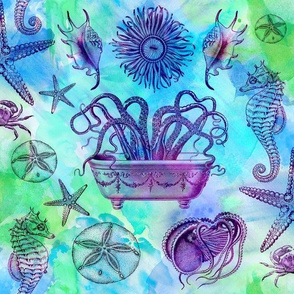 Tie Dye Watercolor Sea Life