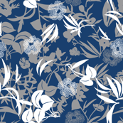 layered tropical blooms - white/grey/ocean