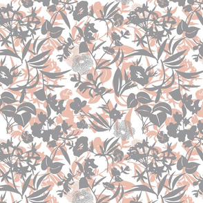 layered tropical blooms - grey/putty/white