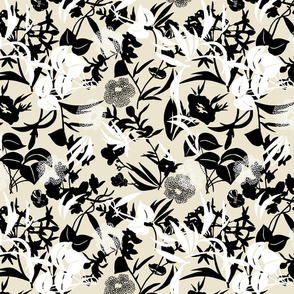 layered tropical blooms - black/white/sand