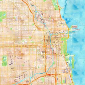 Chicago watercolor map design