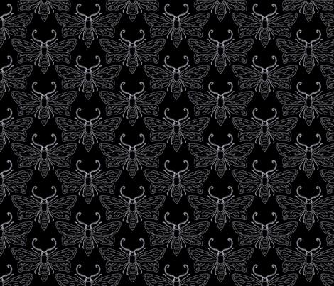 midnite moths in black fabric by pinkowlet on Spoonflower - custom fabric