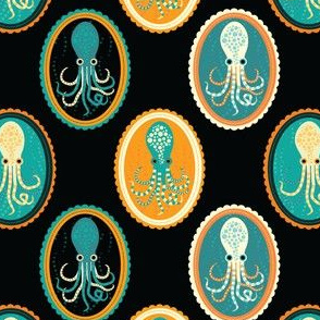 octopus cameos in black
