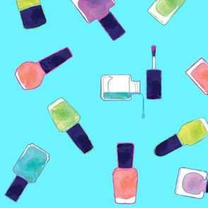 nail polish watercolors in blue
