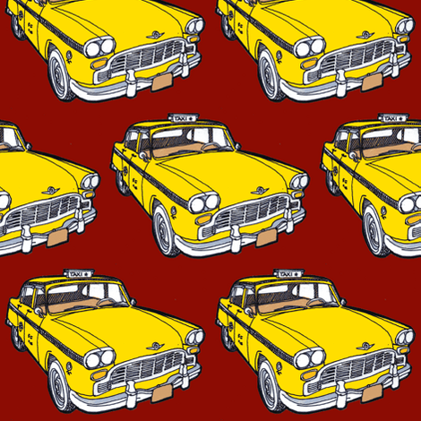 1963-1982 Checker Taxi Cab yellow on red fabric by edsel2084 on Spoonflower - custom fabric