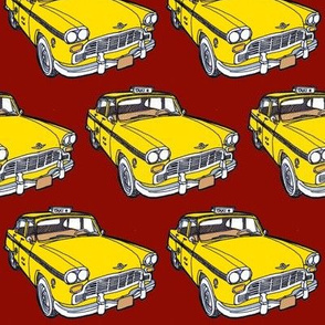 1963-1982 Checker Taxi Cab yellow on red