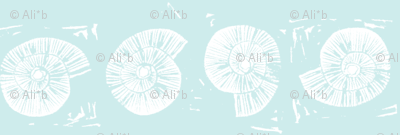 large seashell block print in seaglass blue