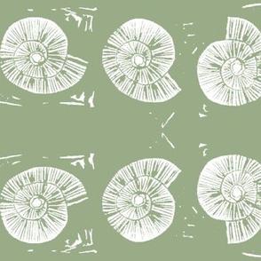 large seashell block print in seaweed