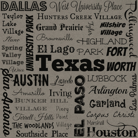 Cities of Texas, gray fabric by svester on Spoonflower - custom fabric