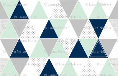 Mint Navy Dot Triangles