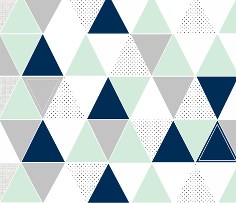 Mint Navy Dot Triangles fabric by tycdesignco on Spoonflower - custom fabric
