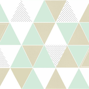 Mint Taupe Dot Triangles