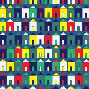 Beach Huts - Blue, teal, yellow, red