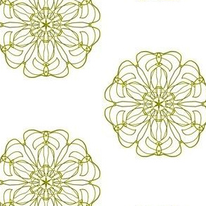Gold Filigree Flowers on White