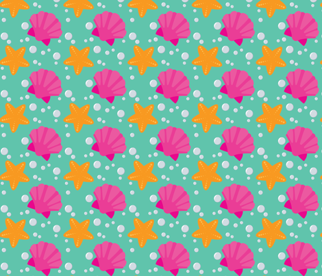 Seashells and Starfish fabric by juliematthews on Spoonflower - custom fabric