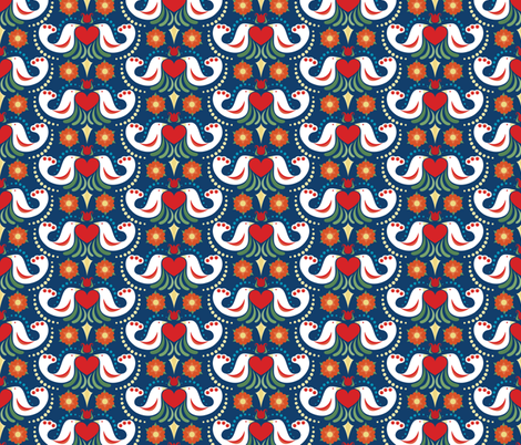 Folk Flowers and Birds fabric by juliematthews on Spoonflower - custom fabric