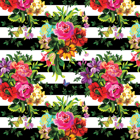"5.15"" Floral Pop Stripes - Small Print fabric by shopcabin on Spoonflower - custom fabric"