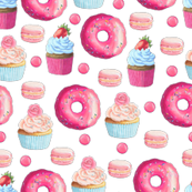 Pink Donut and Cupcake