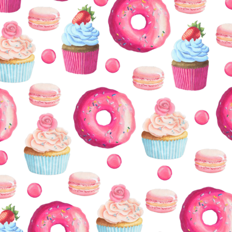 Pink Donut and Cupcake fabric by julia_dreams on Spoonflower - custom fabric