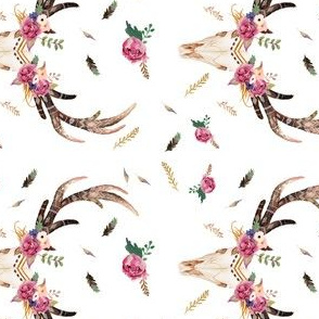 "Boho Aztec Beauty Floral Free - 4"" Skull"