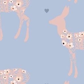 Emily's Deer - Pink & Blue Larger Print