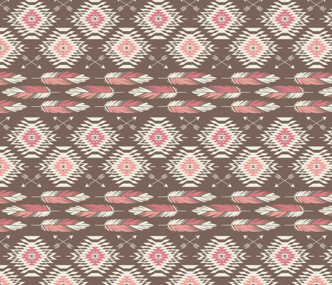 Native Roots - Brown, Coral, & Pink fabric by bohemiangypsyjane on Spoonflower - custom fabric