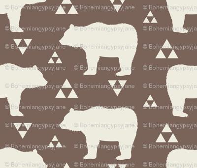 Bears & Triangles - Brown & Cream
