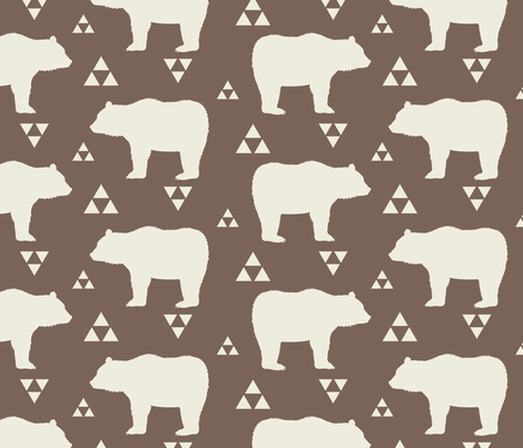 Bears & Triangles - Brown & Cream fabric by bohemiangypsyjane on Spoonflower - custom fabric