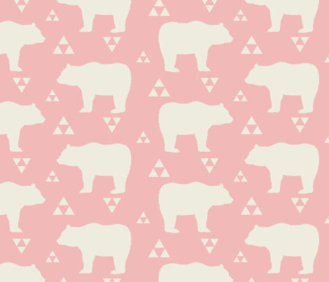 Bears & Triangles - Light Pink & Cream fabric by bohemiangypsyjane on Spoonflower - custom fabric
