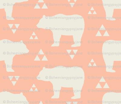 Bears & Triangles - Peach & Cream
