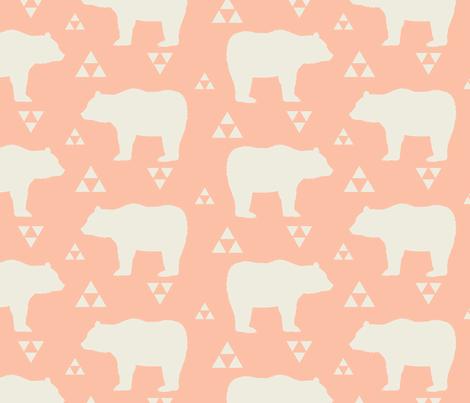 Bears & Triangles - Peach & Cream fabric by bohemiangypsyjane on Spoonflower - custom fabric