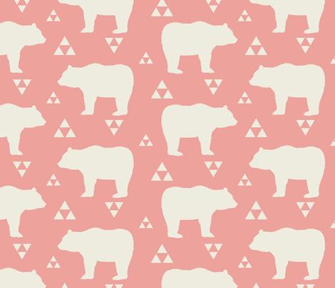 Bears & Triangles - Coral & Cream fabric by bohemiangypsyjane on Spoonflower - custom fabric