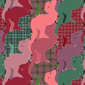 Pink and Green Plaid Tessellating Tyrannosaurs