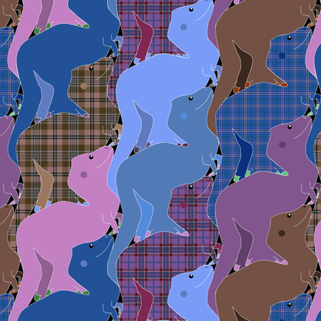 Blue and Purple Plaid Tessellating Tyrannosaurs fabric by eclectic_house on Spoonflower - custom fabric